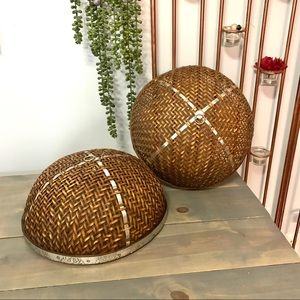 Vintage Woven Basket Plate Covers Bundle of Two